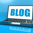 Blog On Laptop Shows Blogging Or Weblog Website — Stock Photo