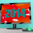 Two Thousand And Fourteen On Monitor Shows Year 2014 — Stockfoto