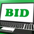 Bid On Laptop Shows Bidder Bidding Or Auction Online — Stock Photo