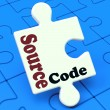 Source Code Puzzle Shows Software Program Or Programming  — Stock Photo