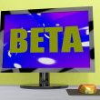 Beta On Monitor Shows Testing Software Or Development — Stock Photo