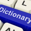 Stock Photo: Dictionary Key Shows Online Or Web Definition Reference
