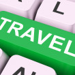 Travel Key Means Explore Or Journey — Stock Photo