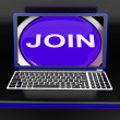 Stock Photo: Join On Laptop Shows Registered Membership Or Volunteer Online