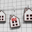 Stock Photo: Sold House Meaning Sale Of Real Estate