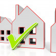House Icons With Tick Showing House For Sale — Stock Photo