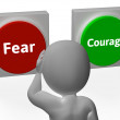 Fear Courage Buttons Show Scary Or Unafraid — Stock Photo