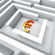 Euro Currency In Maze Shows Euros Credit — Stock Photo