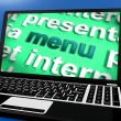 Menu Laptop Shows Ordering Food On Internet — Stock Photo