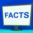 Facts Screen Shows True Information Wisdom And Knowledge — Stock Photo