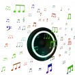 Stock Photo: Speaker And Musical Notes Shows Music Acoustics Or Sound System