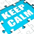 Keep Calm Puzzle Shows Calmness Relax And Composed — Stock Photo