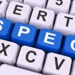 Spec Keys Show Specifications Blueprint Or Design — Stockfoto