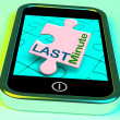 Last Minute On Phone Shows Late Vacation Hotel Or Flight — Foto Stock