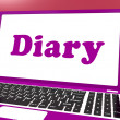Diary Laptop Shows Online Planning Or Scheduler — Stock Photo