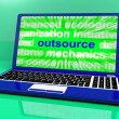 图库照片: Outsource Laptop Shows Subcontracting Outsourcing And Freelance