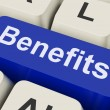 Benefits Key Means Advantage Or Rewar — Stockfoto