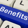 Benefits Key Means Advantage Or Rewar — Stock Photo