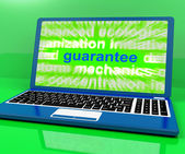 Guarantee Laptop Means Secure Guaranteed Or Assure — Stock Photo