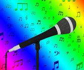 Closeup mikrofon s hudební noty ukazuje písní a hitů — Stock fotografie