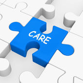 Care Puzzle Means Concerned Careful Or Caring — Stock Photo