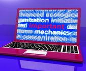önemli laptop önemli temel bilgileri online gösterir — Stok fotoğraf