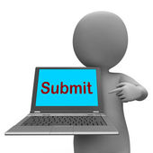 Submit Laptop Shows Submitting Submission Or Internet — Stock Photo