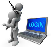 Login Characters Laptop Shows Username Signing In Or Enter — Stock Photo