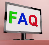 Faq On Monitor Shows Frequently Asked Questions Online — Stock Photo