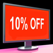 Ten Percent Off Monitor Means Discount Or Sale Onlin — Stock Photo