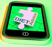 Diet Advice On Smartphone Shows Healthy Diets Online — Stock Photo