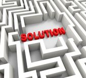 Solution In Maze Showing Puzzle Solved — Stock Photo