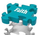 Faith Jigsaw Shows Believing Religious Belief Or Trust — Stock Photo