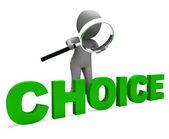 Výběr znaku ukazuje možnosti nebo možnosti dilema — Stock fotografie
