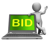 Bid Laptop And Character Shows Bidder Bidding Or Auctions Online — Stock Photo