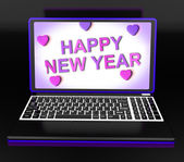 Happy New Year Laptop Message Shows Online Greeting — Stock Photo