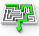Break Out Of Maze Showing Puzzle — Stock Photo