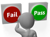 Fail Pass Buttons Show Rejection Or Validation — Stock Photo