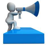 Megafon charakter ukazuje oznámení oznámení a oznámit — Stock fotografie