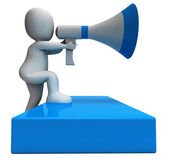 Megaphone Character Shows Announcements Announcing And Announce — Stock Photo