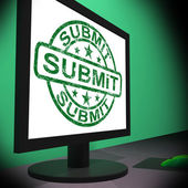 Submit Monitor Shows Apply Submission Or Application — Stock Photo