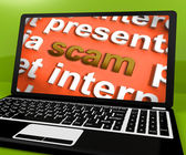 Scam Laptop Shows Scheming Theft Deceit And Fraud Online — Stock Photo