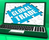 Global Trade Laptop Shows Worldwide International Business — Stock Photo