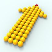 Leading Metallic Balls In Arrow Shows Leadership — Stock Photo