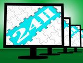 24h On Monitors Show Twenty Four Hour Service Online — Stock Photo