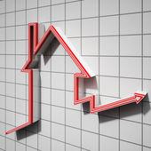 Haus symbol ergebnis haus preis steigen — Stockfoto