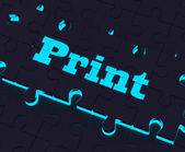 Print Key Shows Printer Printing Copying Or Printout — Stock Photo