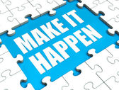 Make It Happen Puzzle Shows Motivation Management And Action — Stock Photo