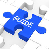Guide Puzzle Shows Guidance Guideline And Guiding — Stock Photo