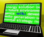 Wiki Laptop Shows Online Websites Knowledge Or Encyclopedia On I — Stock Photo